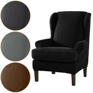 Washable Chair Slip Cover Polyester Solid Armchair Cushion Stretch Set