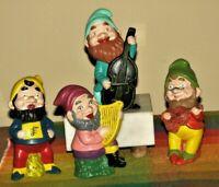 "Gnomes Dwarves Figurine Vtg Ceramic 5.5"" Musical Lot of 4 Hand Painted Fantasy"