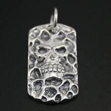 Cool Skull Dog Tag 925 Sterling Silver Mens Biker Pendant 8C004D JP