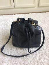 Fossil Black Leather Vickery Drawstring Crossbody Shoulder Bucket Bag $169 EUC