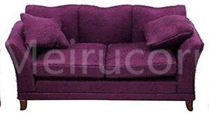 Dollhouses 1/12 Scale Miniature Furniture Drawing Room Purple Fabric Sofa