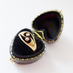 Antique Art Nouveau Diamond Engagement Ring 18ct Yellow Gold C.1890 & Heart Box