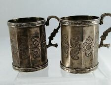 More details for 18th century antique colonial era spanish silver mugs snake handle 280 grams