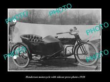 OLD LARGE HISTORIC PHOTO OF HENDERSON MOTORCYCLE PRESS PHOTO, SIDECAR 1 c1920