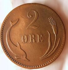 1889 DENMARK 2 ORE - Excellent Vintage Coin - FREE SHIP WORLDWIDE - HV18