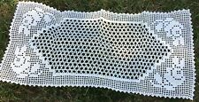 Vintage Crochet Lace Runner Doily Roses Unused