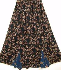 Sk208~Tienda Ho~NAVY & BLACK~Gored MAXI Skirt~EMBROIDERED~Rayon~FLORAL~OS XL 1X?