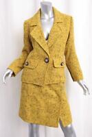 YVES SAINT LAURENT RIVE GAUCHE Womens VINTAGE Yellow Tweed Skirt Suit 36-4 XS-S