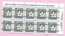 CANADA 1978 French Margin Block of 10 - 15c. FLOWER DEFINITIVE precancels MNH
