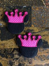 """2 Minnie Mouse Crown Princess Iron On Sew On Patch 3"""" L x 3"""" W Same Day Ship"""
