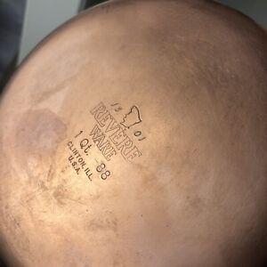1801 Revere Ware Vintage 1 QT Sauce Pan Pot Copper Clad Bottom No Lid USA