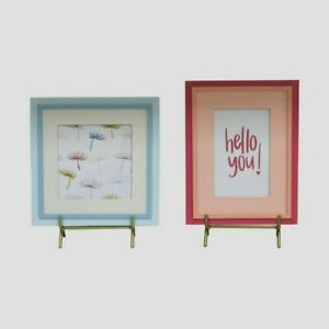 2pc Set Of Picture Frames Hello - Bullseye's Playground- Blue & Pink