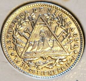 NICARAGUA 10 CENTS / CENTAVOS 1887 .800 SILVER WORLD COIN KM 6