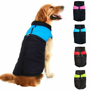 UK Waterproof Pet Dog Clothes Autumn Winter Warm Padded Coat Vest Jacket Apparel