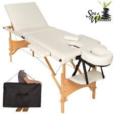 Lettino Massaggi Portatile in Legno 3 Zone Fisioterapia Estetista Zona SPA Beige