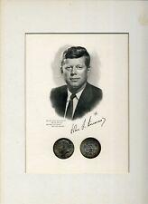 John F. Kennedy Portrait and Matte Border with Two 1964 JFK Half Dollars
