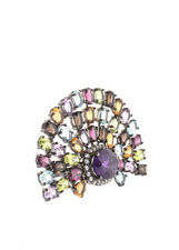 Rarities Sterling Silver Multi Gem Stone Cocktail Ring Size 7.5 New $520