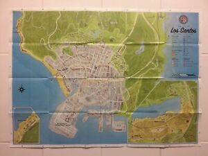 Grand Theft Auto GTA V Xbox One Poster Only Double Sided Map No Game Included