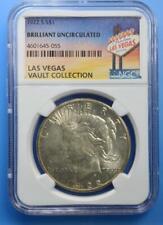 1922-S Peace Dollar NGC Brilliant UNC Las Vegas Vault Collection Home of Binion