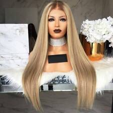 Women Blonde Wig Ombre Long Brown Gold Straight Black Synthetic Party Hair Wigs