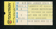 Original 1972 Beach Boys The Kinks Concert Ticket Stub New Jersey Hamilton