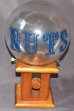 VTG Nut Dispenser Clear Glass Globe Jar Wood Base Gumball Machine Candy Tabletop