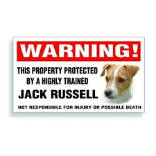 Warning DECAL trained JACK RUSSELL dog  bumper or window sticker