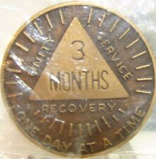 Alcoholics Anonymous AA 3 MONTH Sunshine Bronze Medallion Token Chip Coin Sober