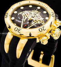 Invicta Men Envy Venom Viper Swiss Mvt Chronograph 18kt Gold Plate Black Watch