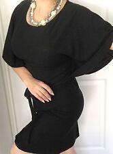 LEONA EDMISTON FROCKS WOMENS DRESS BLACK MERINO WOOL FABRIC NZ MADE IN AU SZ XS