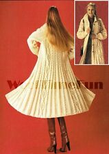Vintage Knitting Pattern Lady's Long Aran/Cable  Coat/Cardigan/Jacket.