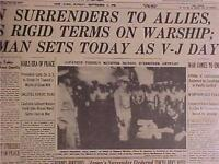 VINTAGE NEWSPAPER HEADLINE~WORLD WAR 2 JAPANESE ARMY SURRENDER V-J DAY WWII 1945