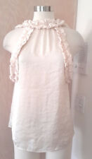Liesse Women's Sleeveless Cream Quilted Ruffle Blouse Manufactures Sample S/M