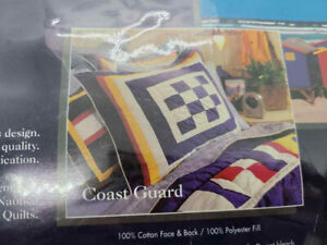 NAUTICA Coast Guard Patchwork Quilted Sham Pillow Cover Vintage New Tags 1997