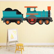 Blue Train Steam Engine Wall Sticker WS-46602
