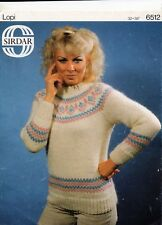 """~ Sirdar Knitting Pattern For Lady's Lovely Fair Isle Sweater ~ 32"""" ~ 38"""" Bust ~"""