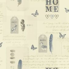 Crema / Azul Lomond Vintage Collage Papel Pintado - Arthouse 256200