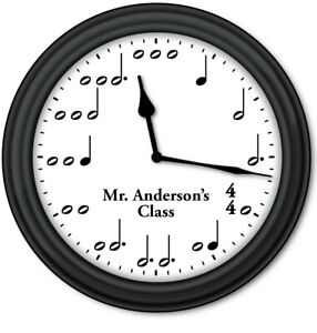 Personalized Music Notes WALL CLOCK - Teacher Piano Lessons Band Orchestra Class