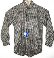 New NWT Sir Pendleton Men's Button Front Plaid 100% Wool Shirt Size S Brown