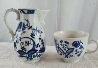 VINTAGE VIENNA WOODS FINE CHINA TEA POT and Feltmann Weiden tea cup blue & white