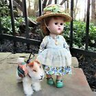 1950's VOGUE GINNY doll & Steiff PUP Sparky dog auburn Tiny Miss #244 dress vtg