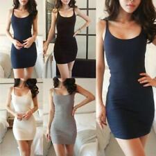 NST Womens&Girls Camisole Long Vest Tank Top Spaghetti Strap Basic Mini Dress LG