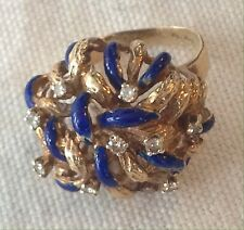18k 750 LADIES RETRO YELLOW GOLD BLUE ENAMEL & DIAMONDS RING SIZE 5- 5 1/4 ITALY