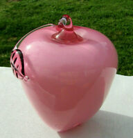 "Fenton APPLE Paperweight DUSTY ROSE OVERLAY 4.5""H x 4""W MINT***Very RARE**"