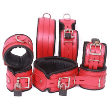 Real Leather Wrist Ankle Thigh Cuffs Collar 7 Pieces Set Padded Red Black