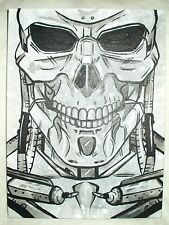 Canvas Painting The Terminator Movie Grey Silver Skull Art 16x12 inch Acrylic