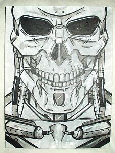 Canvas Painting The Terminator Movie Grey Silver Skull Art 16x12 inch Acrylic