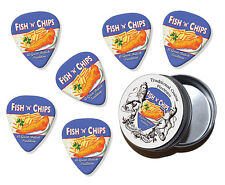 Fish & Chips British Tradition Martin Wiscombe 6 X Guitar Picks In Tin Vintage