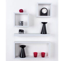 Large Set of 4 Hudson Cube Matt White Shelf Wall Mounted Display Shelves Unit UK