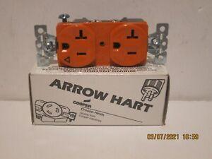ARROW HART IG5362 DUPLEX RECEPTACLE 20A 125V 2P 3W GRND NEMA 5-20R ORANGE NIB FS